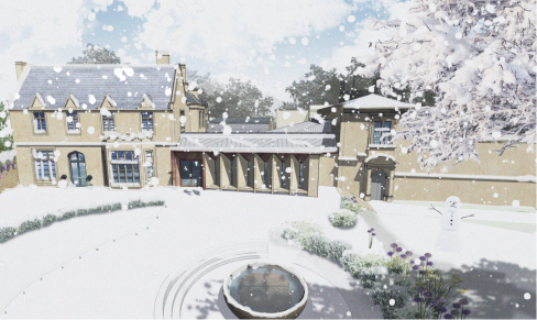 Old Deanery (new visitor centre) in snow CGI