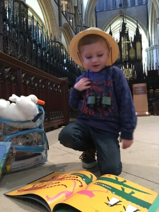 A child using the Lincoln Cathedral Connected backpacks